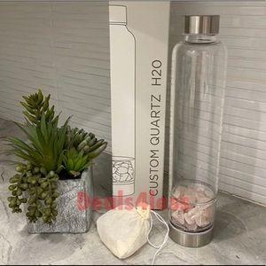 Quartz Glass Water Bottle with Gem Rocks New